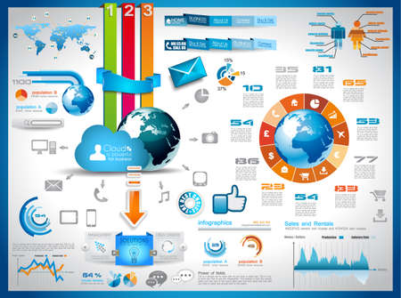 web page elements: Infographic elements - set of paper tags, technology icons, cloud cmputing, graphs, paper tags, arrows, world map and so on. Ideal for statistic data display. Illustration
