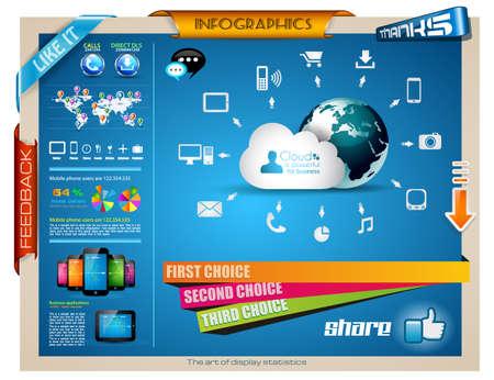 computer banner: Infographic elements - set of paper tags, technology icons, cloud cmputing, graphs, paper tags, arrows, world map and so on. Ideal for statistic data display. Illustration