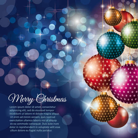 Merry Christmas flyer with glittert background with a lot of Christmas decorated elements. Ideal for celebratiion or invitation flyers. Vector