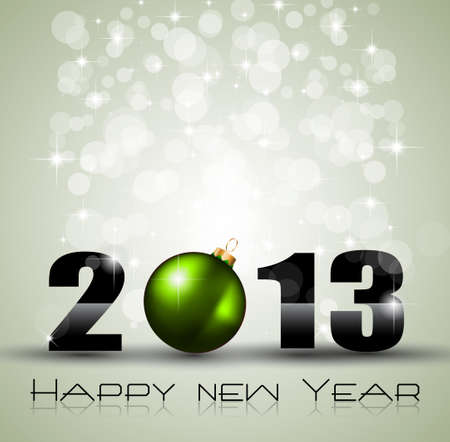 2013 Ecology Green Themed Greetings for New Year Posters with a glitter background Stock Vector - 16642540