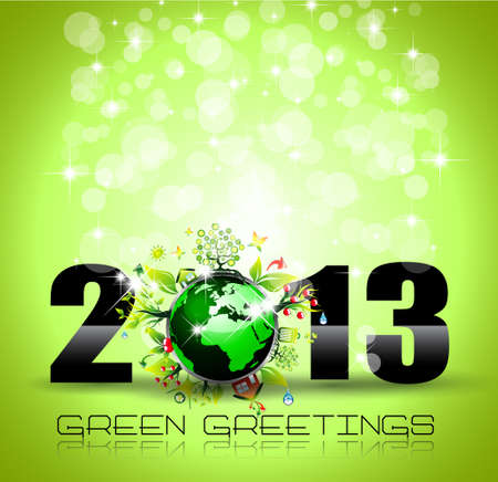 newyear card: 2013 Ecology Green Themed Greetings for New Year Posters with a glitter background