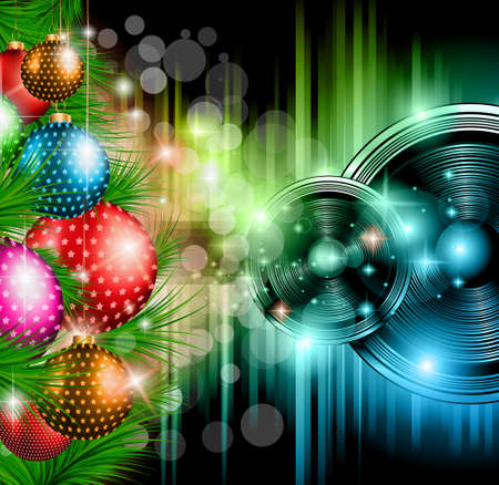Christmas Club Party Background - Ideal for holiday discotheque event or party invitation poster. Illustration