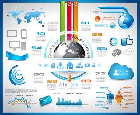 성장: 클라우드 컴퓨팅 개념 인포 그래픽 - 통계 데이터 표시를위한 종이 태그, 기술, 아이콘, 구름 cmputing, 그래프, 종이 태그, 화살표, 세계지도 등 이상에의 세트