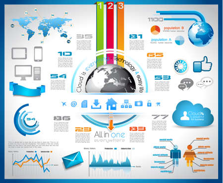Infographic with Cloud Computing concept - set of paper tags, technology icons, cloud cmputing, graphs, paper tags, arrows, world map and so on  Ideal for statistic data display  Vector