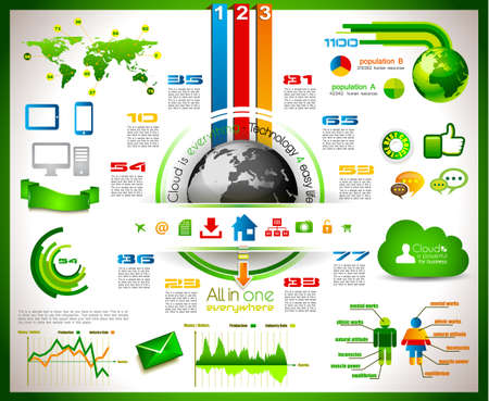 connect people: Infographic with Cloud Computing concept - set of paper tags, technology icons, cloud cmputing, graphs, paper tags, arrows, world map and so on  Ideal for statistic data display