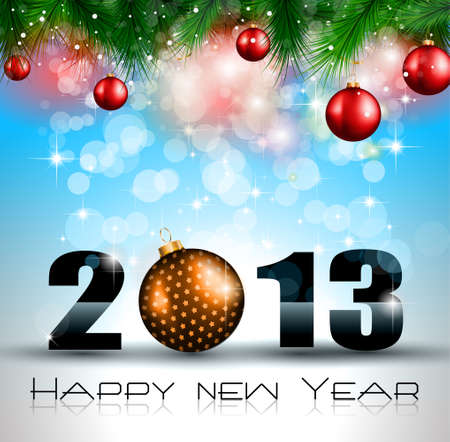 2013 New Year Celebration Background with Glitter and Rainbow Colours Vector