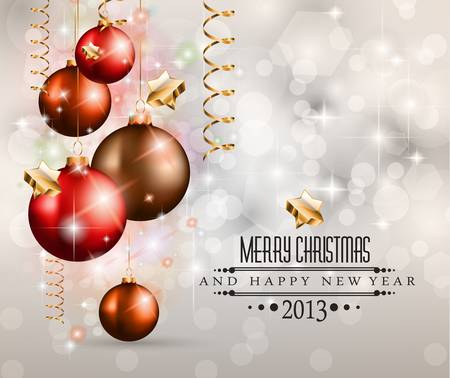 Elegant Classic Christmas Background with new red baubles and a lot of colorful glitters for a magic atmosphere. Idea for celebratiion or invitation flyers. Vector
