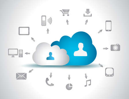 Cloud Computing concept background with a lot of icons: tablet, smartphone, computer, desktop, monitor, music, downloads and so on Stock Vector - 16708981