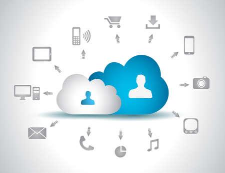 icono computadora: Nube de fondo Computing concepto con una gran cantidad de iconos: tableta, smartphone, computadora, escritorio, monitor, música, descargas, etc