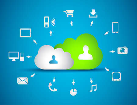 Cloud Computing concept background with a lot of icons: tablet, smartphone, computer, desktop, monitor, music, downloads and so on Stock Vector - 16710103