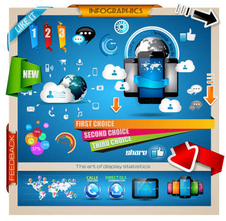 data collection: Infographic with Cloud Computing concept - set of paper tags, technology icons, cloud cmputing, graphs, paper tags, arrows, world map and so on. Ideal for statistic data display.