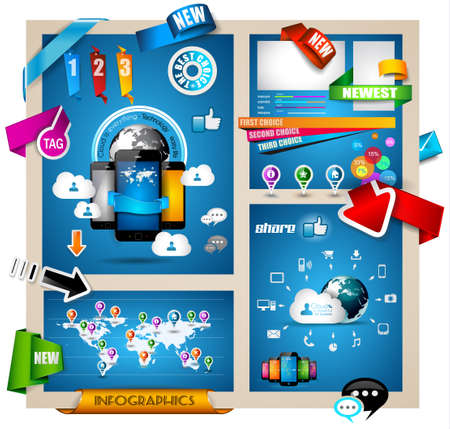 pages template: Infographic with Cloud Computing concept - set of paper tags, technology icons, cloud cmputing, graphs, paper tags, arrows, world map and so on. Ideal for statistic data display.