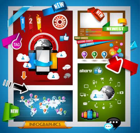 tan: Infograf�a con el concepto de Cloud Computing - conjunto de etiquetas de papel, iconos, tecnolog�a cmputing nube, gr�ficos, etiquetas de papel, flechas, mapa del mundo, etc. Ideal para la visualizaci�n de datos estad�stica. Vectores