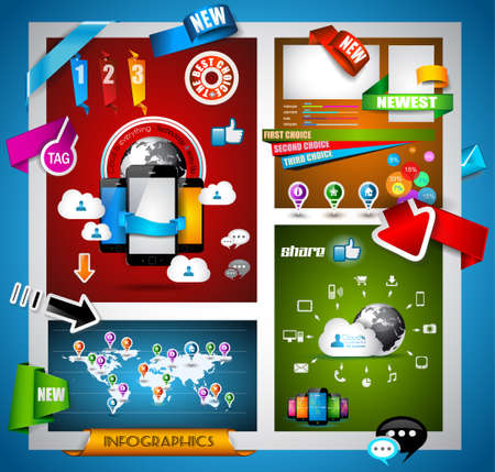 infomation: Infographic with Cloud Computing concept - set of paper tags, technology icons, cloud cmputing, graphs, paper tags, arrows, world map and so on. Ideal for statistic data display.