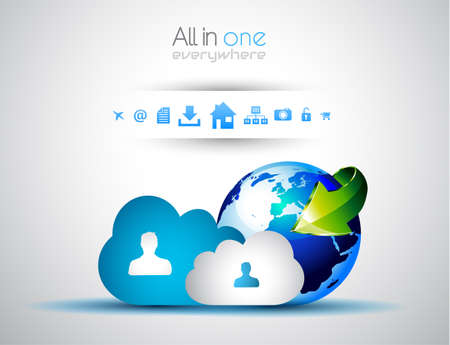 Cloud Computing concept background with a lot of icons: tablet, smartphone, computer, desktop, monitor, music, downloads and so on Vector