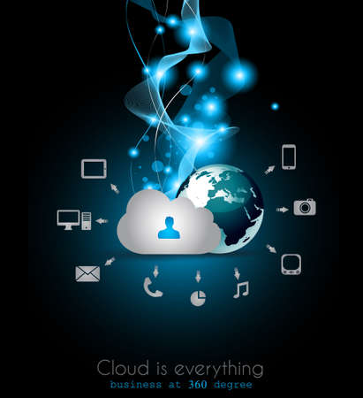 cloud computing: Cloud Computing concept background with a lot of icons: tablet, smartphone, computer, desktop, monitor, music, downloads and so on