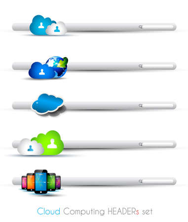 Cloud Computing themed headers or footers to use for technology modern web design or blog templates Vector