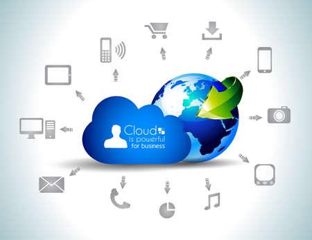 クライアント: クラウド ・ コンピューティング概念の背景多くのアイコンに: タブレット、スマート フォン、コンピューター、デスクトップ、モニター、音楽、ダウンロード