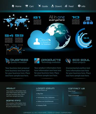 webtemplate: Modern web template with paper style background and transparent shadows. Ideal for business website with a lot of infographic charts elemenets. Illustration