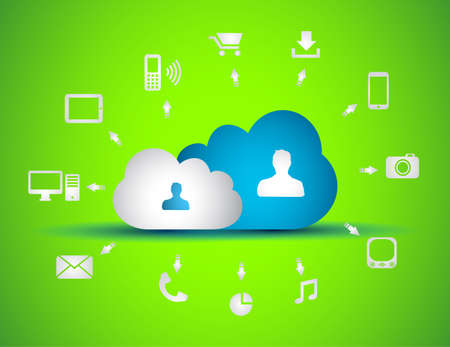 Cloud Computing concept background with a lot of icons: tablet, smartphone, computer, desktop, monitor, music, downloads and so on Stock Vector - 17334149