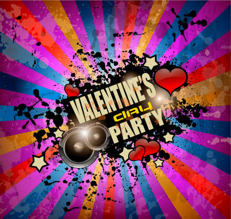Valentines Day party flyer background with music and love themed elements. Ideal for nigh disco party posters. Vector