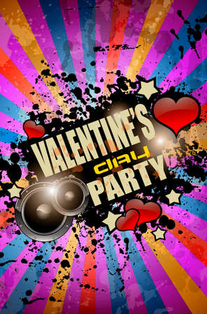 disk jockey: Valentines Day party flyer background with music and love themed elements. Ideal for nigh disco party posters.