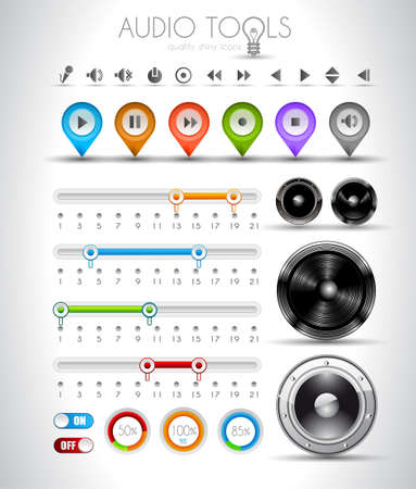 Audio tools design elements collection: pins, music player icons, speakers, bars with values, on off buttons and so on. Vector