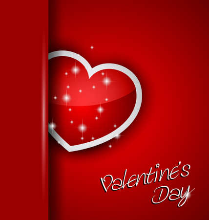 Elegant Valentines Day background with a Shiny Heart, gold rope and a clean background. Ideal for invitaions flyer. Vector