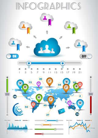 visualize: Elementi di infografica - set di etichette di carta, icone tecnologia, cmputing nuvola, grafici, etichette di carta, frecce, la mappa del mondo e cos� via. Ideale per la visualizzazione di dati statistici.
