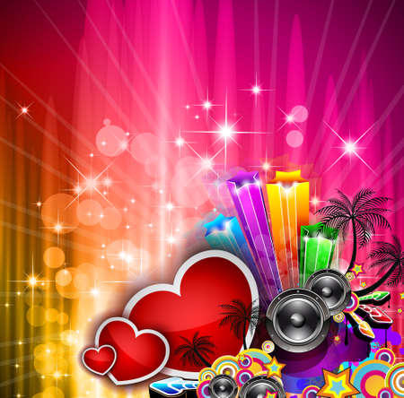 Valentines Day party invitation flyer background with love themed elements. Ideal for cover or posters. Vector