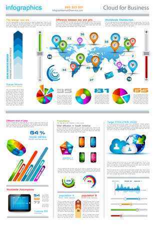 paper tags: Infographic elements - set of paper tags, technology icons, cloud cmputing, graphs, paper tags, arrows, world map and so on. Ideal for statistic data display. Illustration