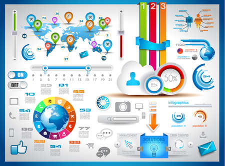 banner design: Infographic elements - set of paper tags, technology icons, cloud cmputing, graphs, paper tags, arrows, world map and so on. Ideal for statistic data display. Illustration