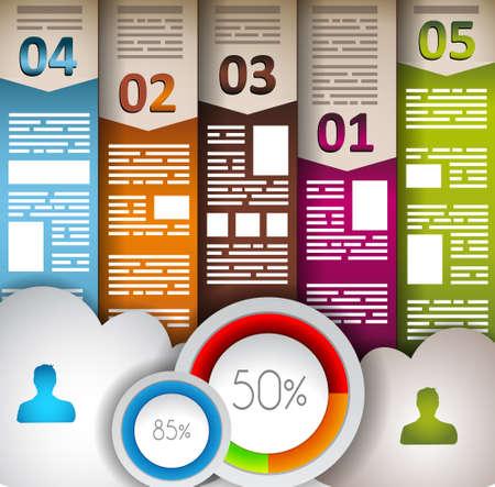 Elementi Infographic - set di etichette di carta, icone nuvola tecnologia, nuvola cmputing, grafici, etichette di carta, frecce, mappa del mondo e così via. Ideale per la visualizzazione di dati statistica. Vettoriali