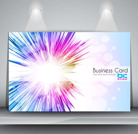 Elegant Business Card Design Template. Fully editable and ready to place your text. The card is over a shelf  with two spotlights over it. Vector