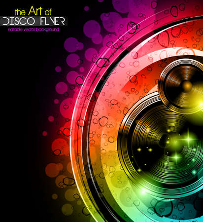 Disco club flyer with a lot of abstract colorful design elements. Ideal for poster and music background. Ilustração