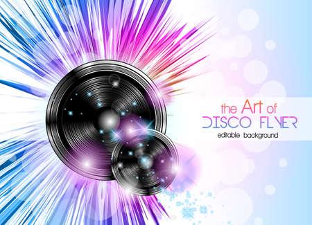Disco flyer club con una gran cantidad de elementos de diseño abstracto de colores. Ideal para carteles y música de fondo. Ilustración de vector