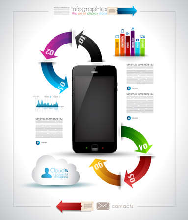 pda: Infographics Desgin template with high tech smartphone with touch screen and a lot of paper tags Illustration
