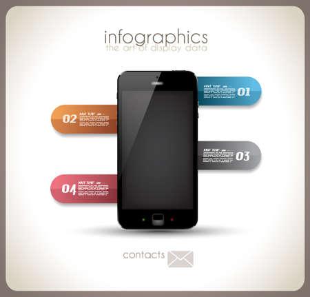 visualize: Infografica modello di Desgin con smartphone high tech con touch screen e un sacco di tag di carta Vettoriali
