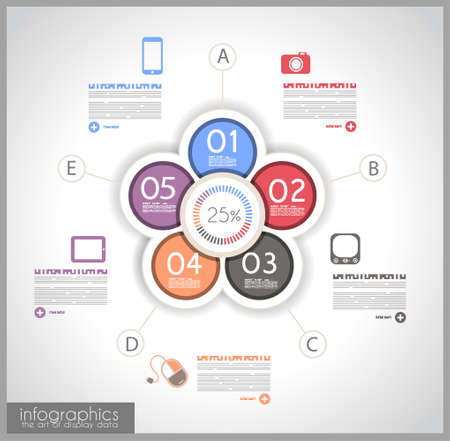 pie chart: Infographic template design - Original geometric paper shapes with shadows. Ideal to display data and informations with modern style.