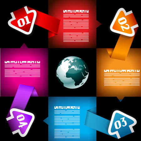 econimics: Infographic with Cloud Computing concept - set of paper tags, technology icons, cloud cmputing, graphs, paper tags, arrows, world map and so on  Ideal for statistic data display