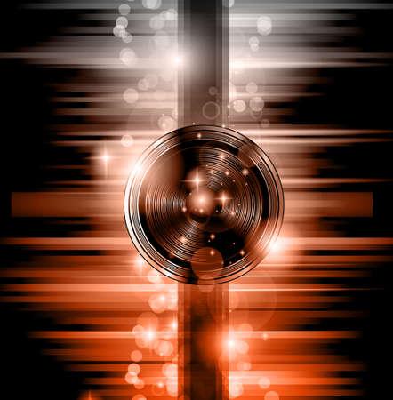 L'arte del Disco Flyer - Altoparlanti splendida, con una forma Disk Jokey e un sacco di stelle e luci ray. Vettoriali