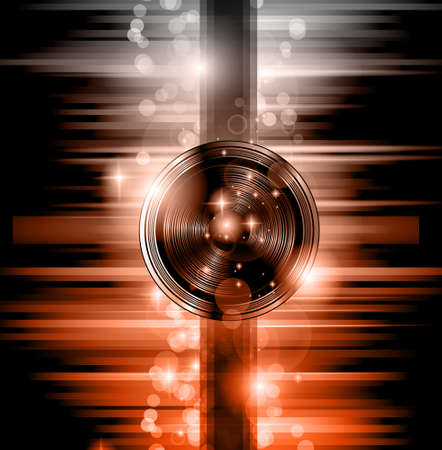 stunning: The Art of Disco Flyer - Stunning Speakers with a Disk Jokey shape and a lot of stars and ray lights.