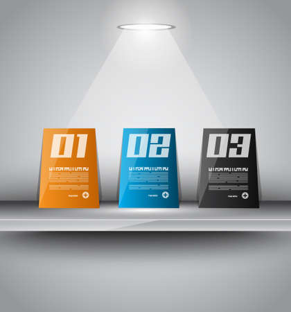 econimics: infographics paper panels over a modern shelf with led spotlights. Delicate lights and shadows.