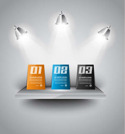 infographics paper panels over a modern shelf with led spotlights. Delicate lights and shadows. Stock Vector - 18525841