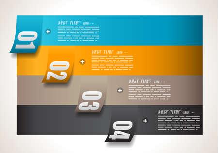 Plantilla de diseño de Infografía con las etiquetas de papel. Idea para mostrar información, clasificación y estadísticas con estilo original y moderno.