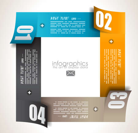 Infographic design template with paper tags. Idea to display information, ranking and statistics with orginal and modern style. Stock Vector - 18525921