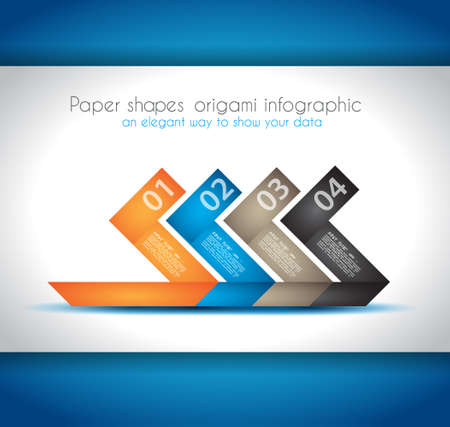 infocharts: Paper shapes origami infographics - An elegant way to show your data and statistics. Ideal for product ranking and infocharts. Illustration