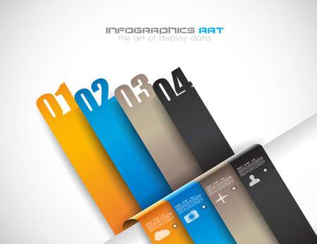 hoja cuadriculada: Plantilla de dise�o de Infograf�a con las etiquetas de papel. Idea para mostrar informaci�n, clasificaci�n y estad�sticas con estilo original y moderno.