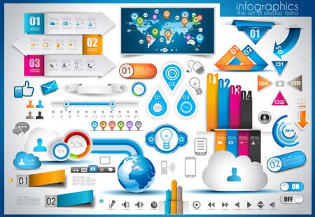 presentation board: Infographic elements - set of paper tags, technology icons, cloud cmputing, graphs, paper tags, arrows, world map and so on. Ideal for statistic data display. Illustration