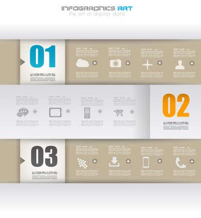 elementi: Modello di disegno di Infographic con etichette di carta. Idea per visualizzare le informazioni, classifica e statistiche con stile originale e moderno.